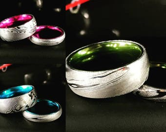 His and Her Custom Damascus Steel/Mokume Gane Ring Set with Blue/Green/Pink Plated Aluminum Interior Wedding Band Set- FREE ENGRAVING