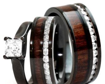 His & Hers Koa Wood Ring Set Black Stainless Steel Wedding Rings