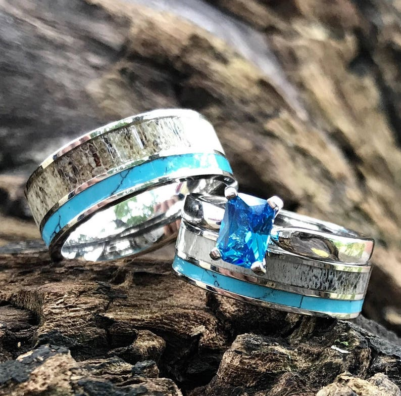 9c1d62d3c3e591 His & Her Natural Deer Antler Ring Set Turquoise Engagement | Etsy