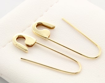 6c340a6064f 14k Yellow Gold Safety Pin Earrings (PAIR) 1  long