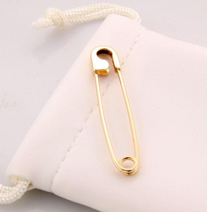 18K Yellow Gold Safety Pin Handmade in USA