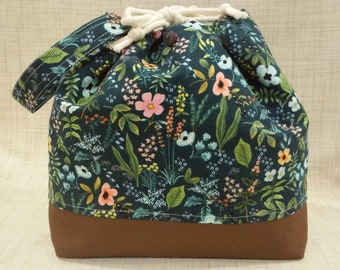 Project bags Lavender Set of 2 Knitter Project Bags Summer Flowers collection Large and Small