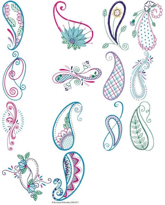 Mehndi Paisley 14 Different Filled Stitch Machine Embroidery Etsy