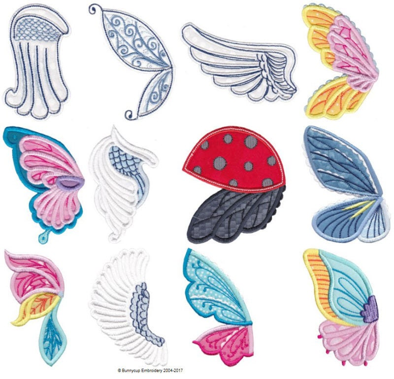 Wings Applique 12 Different Applique Machine Embroidery Etsy