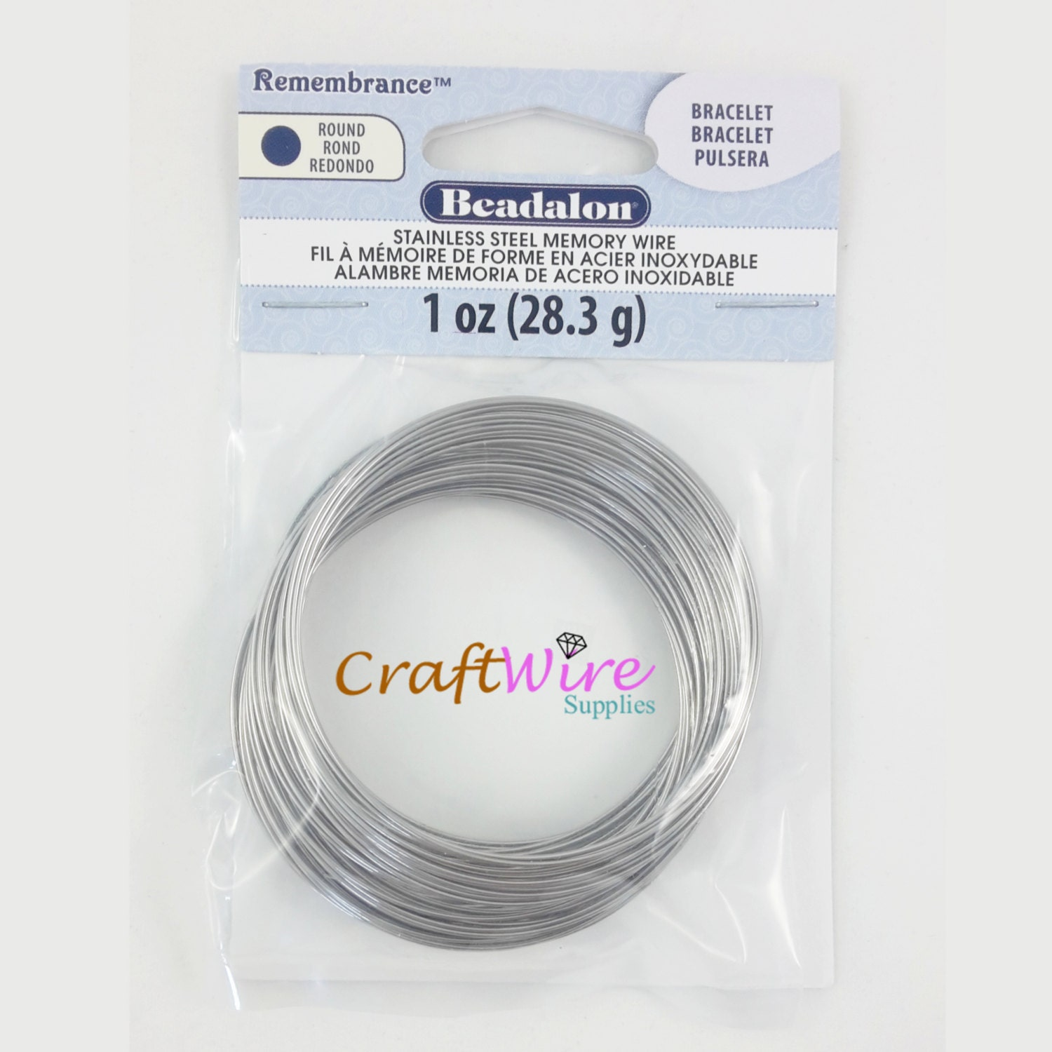 1oz (75 coils) Beadalon Memory wire Remembrance, Stainless Steel ...