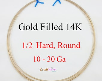 Gold Filled 14/20 Wire, 14K Round, Half Hard, 10 12 14 16 18 19 20 21 22 24 26 28 30 Gauge, 6in 1 5 15 25 feet, Jewelry Craft wire