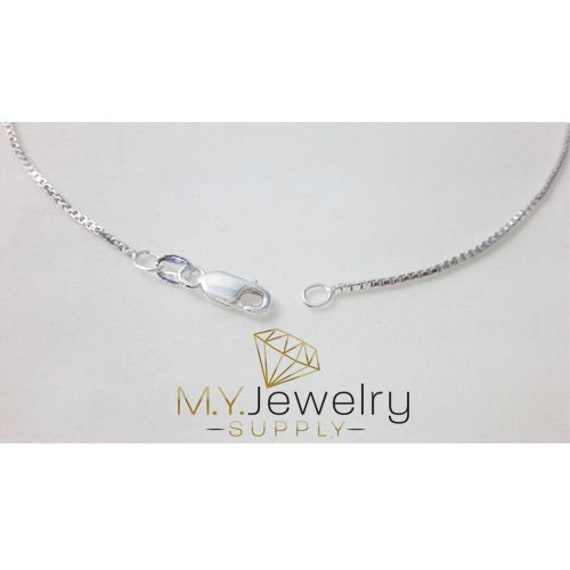 0.7mm 925 White Gold Sterling Silver Box Chain Necklace