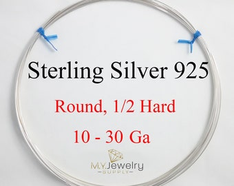 925 Sterling Silver wire Half Hard Round 10 12 14 16 18 19 20 21 22 24 26 28 30 Gauge Made in USA Craft Jewelry Wrapping