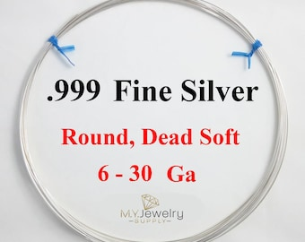 999 Fine Silver wire Dead Soft Round 6 8 10 12 14 16 18 20 22 24 26 28 30 Gauge Made in USA Craft Wrapping