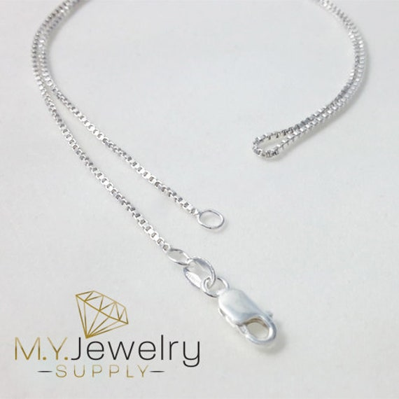 """925 Sterling Silver BOX Chain Necklace 20/"""" Made in USA 1.0mm 16/"""" 24 inch 18/"""""""