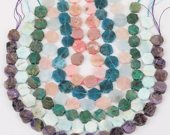 10pcs strand Natural Green Opal Stones Faceted Octangle Slab Loose Beads Craft Necklace,Raw Opal Drilled Gems Faceted Slice Charm Pendants
