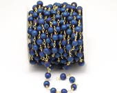 6mm,Titanium Dark Blue Plated Natural Agate Round Beads Jewelry,Antique Brass Plating Wire Wrapped Rosary Chains for Bracelet Making