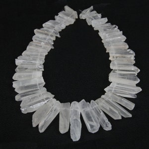 A-grade of strand White Raw Clear Rock Quartz Crystal Points Beads,Top Drilled Rough Quartz Gemstone pendants Bead Craft Supplies