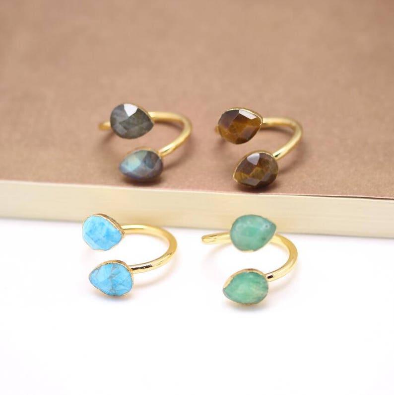 Teardrop Shape AgateTurquoiseTiget EyeLabradorite Rings,Golden Plated Faceted Gemstone Adjustable Rings