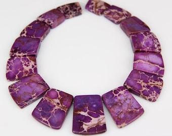 Purple Sea Sediment Jasper Graduated Top Drilled Slab Making Necklace Set,Large Gemstones Loose Beads Charm Beading Jewelry 17-35x25-28mm