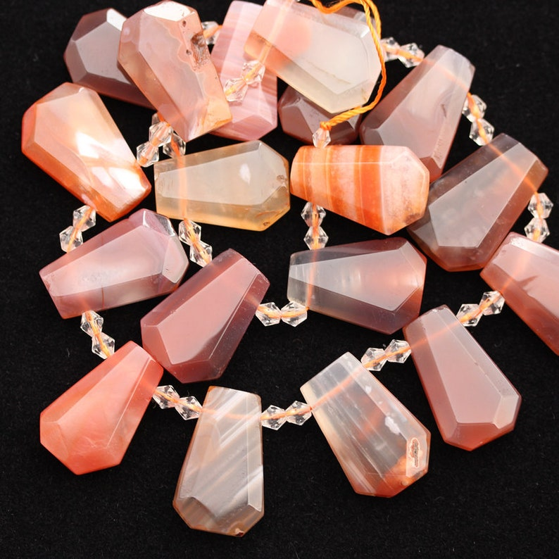 Smooth Faceted Natural Red Agate Slabs Beads,Top Drilled Raw Agate Slice Beads Charms Necklace