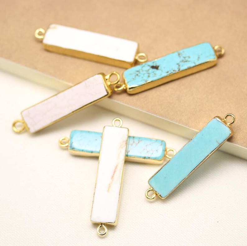 1-10PCS,Blue/&White Turquoise Double Circls Pendants,Golden Plated Connectors Charms Jewelry,9x35mm