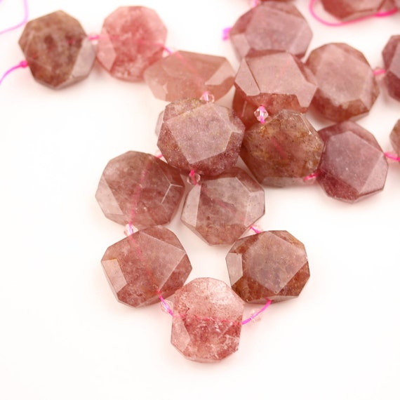 Strawberry Quartz Beads 15mm x 15mm x 20mm Quartz Pendant Strawberry Quartz Faceted Nugget Half Strand Gemstone Beads Jewelry Stones