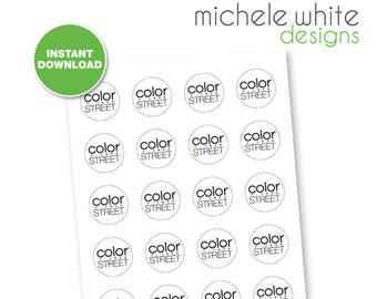 """1.5"""" Round Labels, Color Street - Instant Download"""