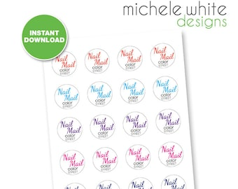"""1.5"""" Round Labels, Color Street Nail Mail - Instant Download"""