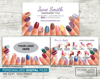 Personalized Nail Stylist Business Card, Direct Sales, Small Business, Nail Strip Application, PRINTABLE Digital File
