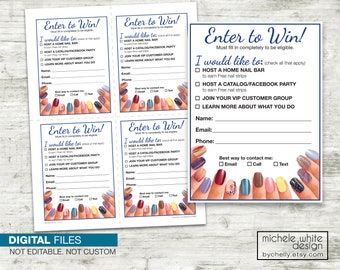 Door Prize, Lead Slip, Vendor Event, Direct Sales, Nail Stylist, Nails - PRINTABLE Digital Files