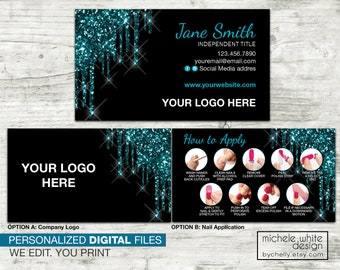 Personalized Business Card, Direct Sales, Small Business, Nail Strip Application, Teal Glitter Dipped, PRINTABLE Digital File