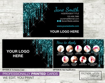 Personalized Nail Stylist Business Card, Direct Sales, Small Business, Nail Strip Application, Teal Glitter Dipped, PRINTED