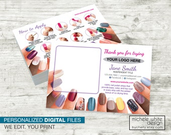 Personalized Nail Stylist Twosie Sample Postcard, Direct Sales, Nail Application Instructions, PRINTABLE Digital File