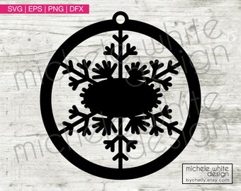Snowflake Ornament SVG, Holiday SVG, Cut File, Wood Cut Ornament, Winter, DXF, Png, Eps