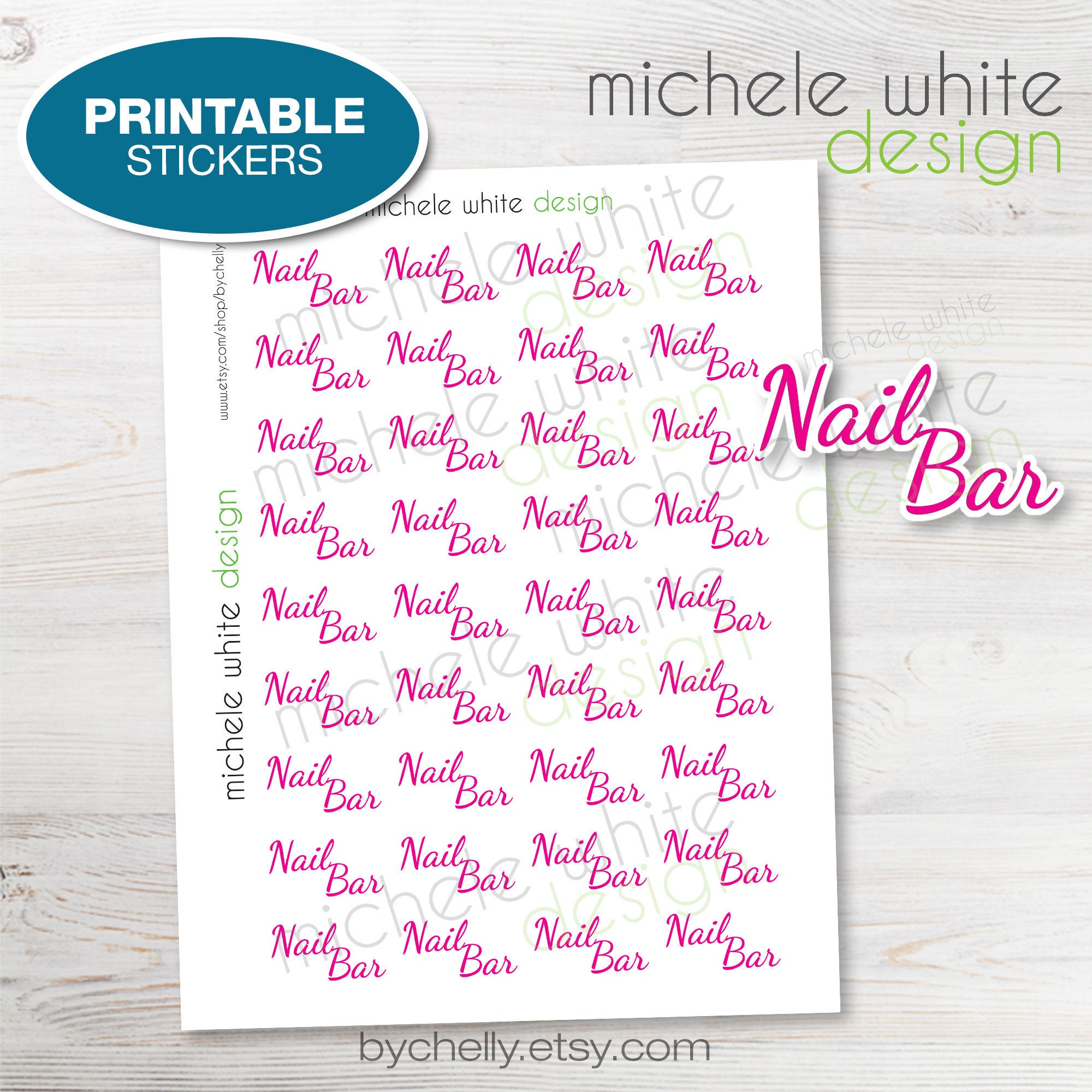 photo relating to Printable Nails titled PRINTABLE - Nail Bar, Planner Stickers, Many Shades, Printable PDF, Immediate Obtain Stickers