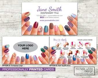 Personalized Nail Stylist Business Card, Direct Sales, Small Business, Nail Strip Application, PRINTED