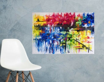 MEDArts Original abstract palette knife painting 30 x 30 Impasto Colorful lot of texture Red Yellow Orange Green Blue White Black Modern