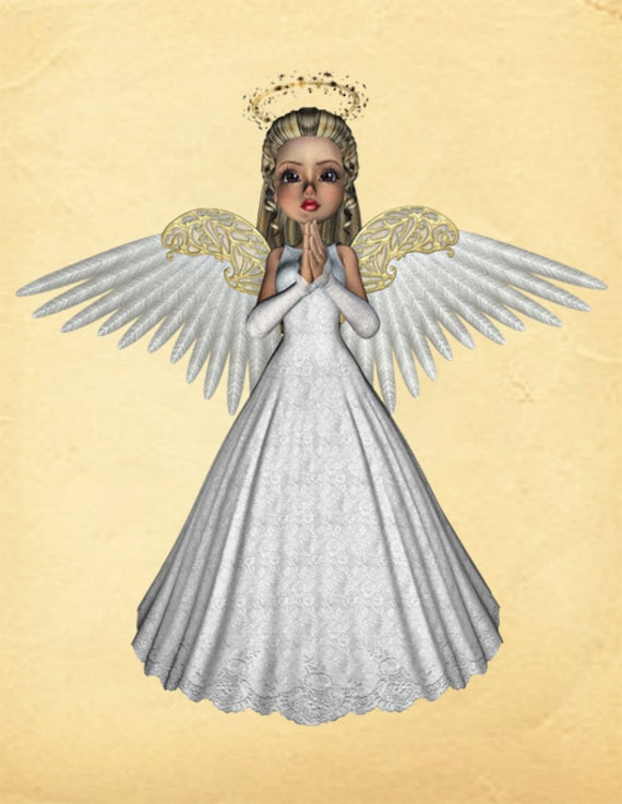Angel Image Cutout 3D Template Large