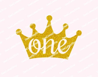 One Iron On, Crown, Non-Shed Glitter, One, Princess, First, Gold, Shirt Iron On, DIY, Iron-On Heat Transfer, NOT DIGITAL, Iron-On Decal