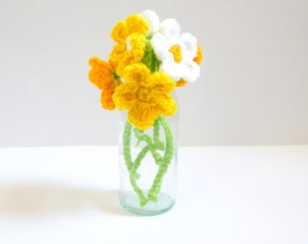 Six crochet flowers with stems. Easter 2017