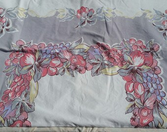 "Vintage Fruit Tablecloth Pink and Lavender 54"" x 44"""