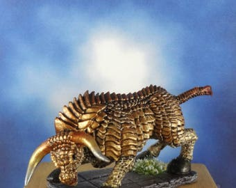 Brass Bronze Bull Golem Miniature Dungeons Dragons D&D Pathfinder Warhammer Ral Partha Grenadier Chainmail Reaper Minis