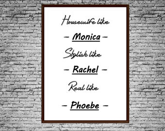 "Friends TV Show Printable Art Typography Poster ""Friends Characters"" Art Print For Your Wall"