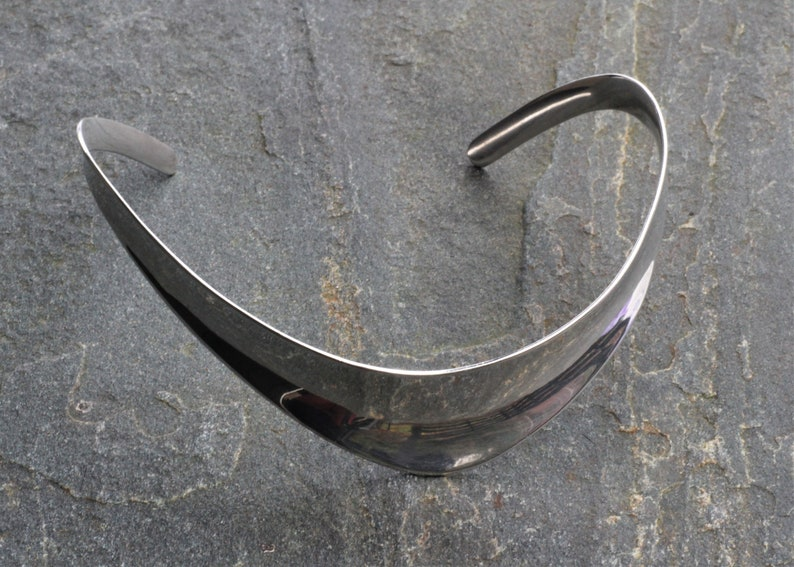 Vintage Handmade Danish Modernist Minimalist Solid Silver Sterling Necklace Choker Torque Small size Erik Morild M\u00f8ller Denmark