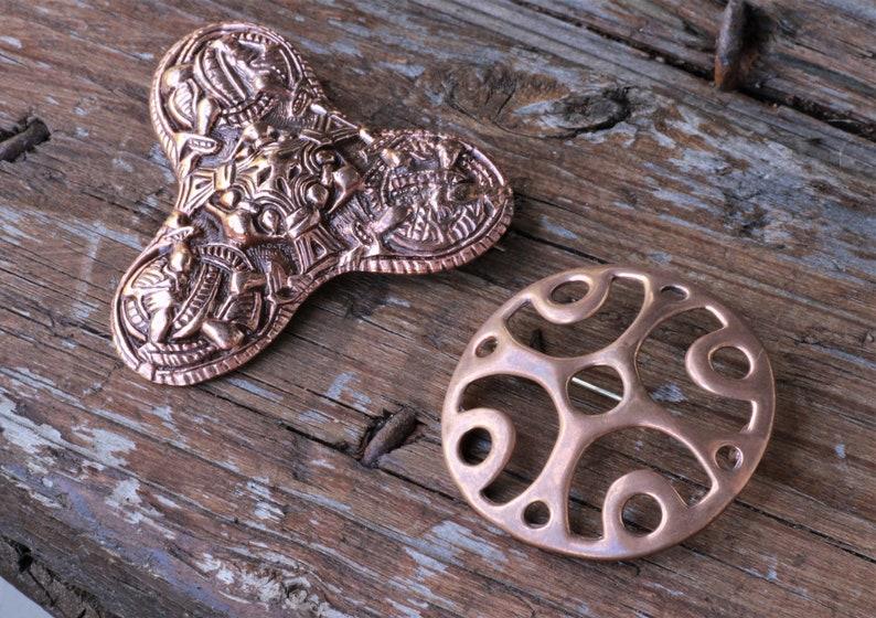 Vintage Scandinavian Norwegian Bronze Brooches Pins Juhls Silver gallery Sun wheel Solhjul Viking Style Trefoil Gripping beast