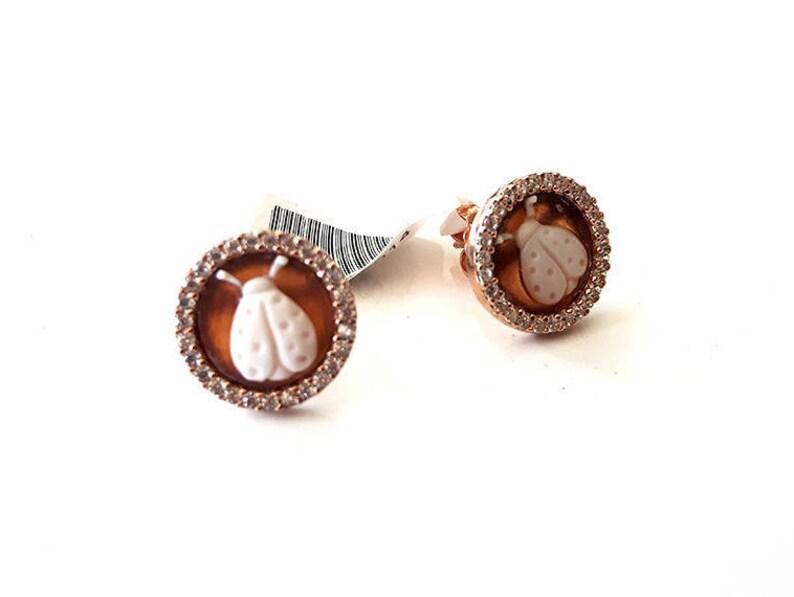 1fbad6ab8ab9 Shell cameo earrings Ladybugs italian cameos jewelry donadio