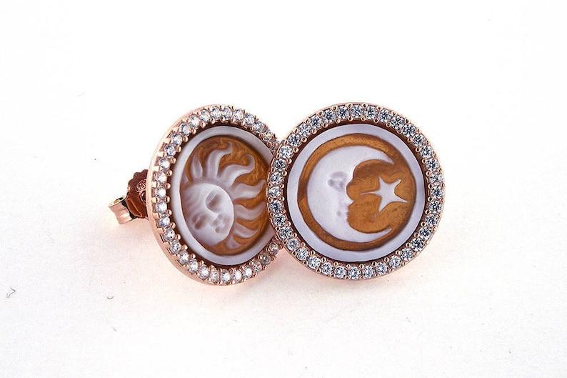 2048ce6f6639 Shell cameo earrings Sun Moon italian cameos jewelry donadio cameo shell  boucles d oreilles camée pendientes camafeo カメオイヤリング Камея серьги