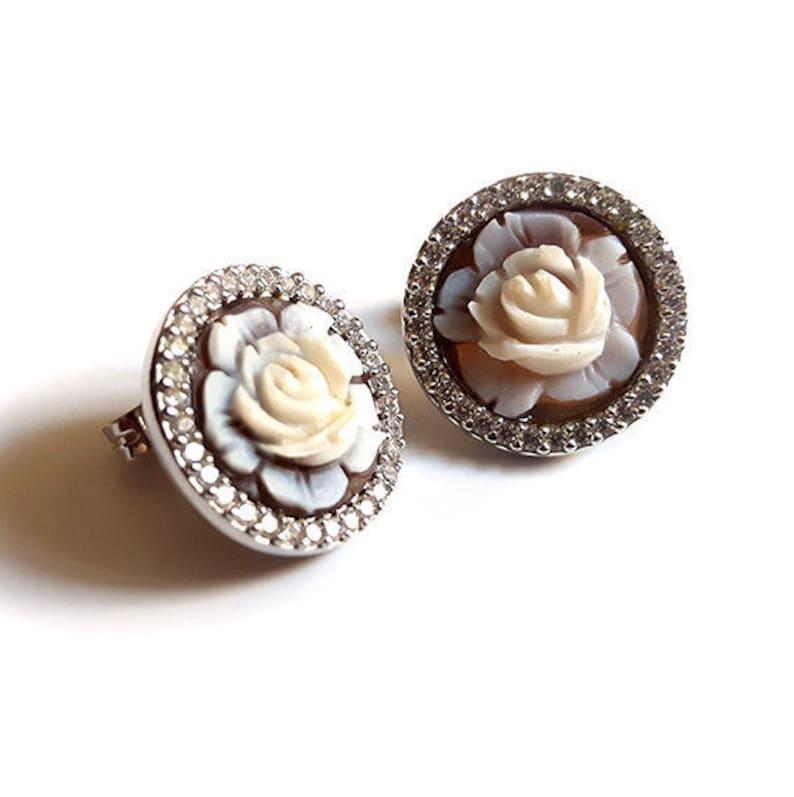 dde9b1194523 Lobe shell cameo earrings Roses italian cameo jewelry donadio cameo shell  boucles oreilles camée pendientes camafeo カメオイヤリング Камея серьги