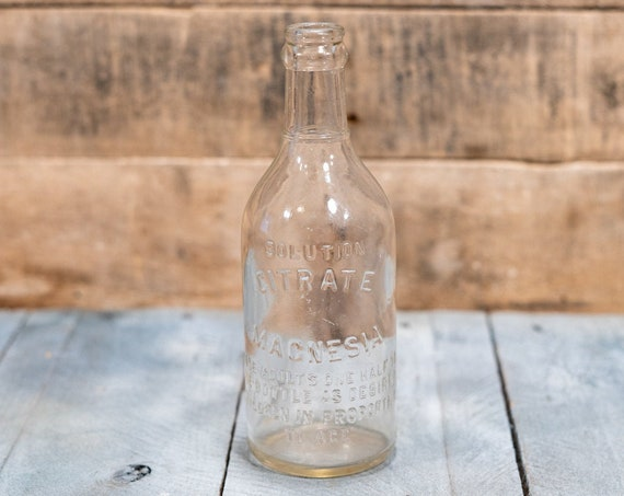 Vintage Citrate Magnesia Medicine Glass Bottle Advertising Pharmacy Country Farmhouse