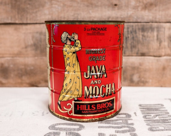 Vintage Hills Bros Coffee Tin Java Mocha 3lb Tin Red Black Kitchen Farmhouse Country Decor Advertising Container Storage Tin