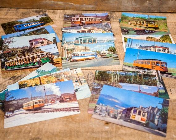 Vintage Random Unused Postcard Lot of 5 Trolley Ephemera Mixed Lot United States 1960s-1980s