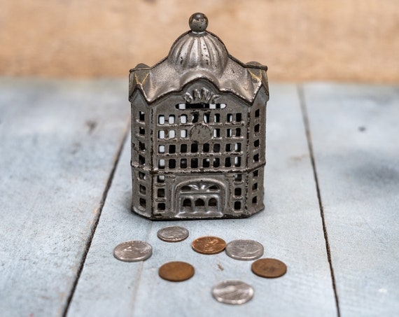 Vintage Cast Iron Tower Skyscraper Coin Bank Piggy Bank Man Cave Rustic