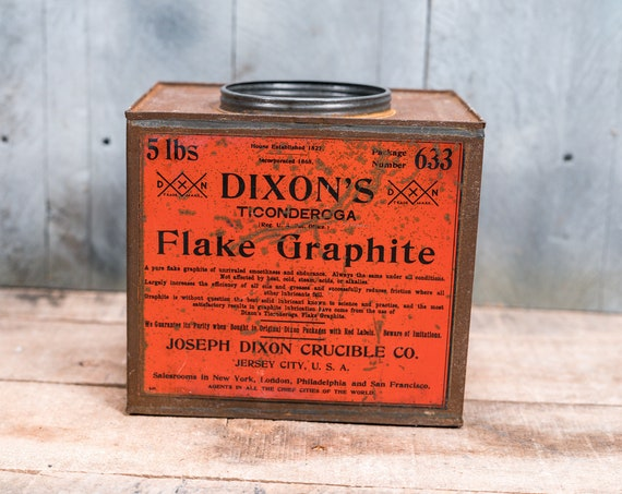 Vintage Dixon's Flake Graphite Tin Advertising Orange Black Container Storage