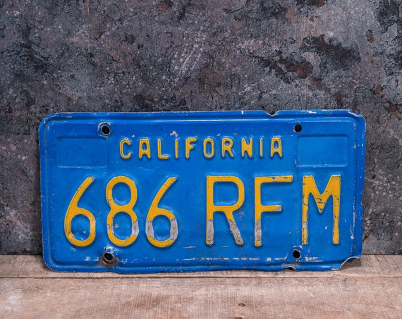 Vintage California License Plate Metal Rustic Distressed Wall Hanger Garage Man Cave Decor Automotive Decor Blue Yellow